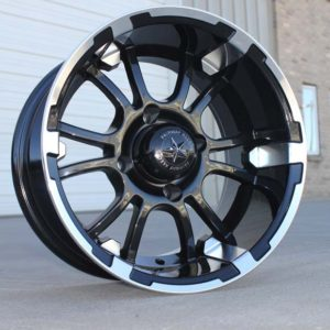 "12"" SIXER BLACK GOLF CAR WHEEL 12X6.5"