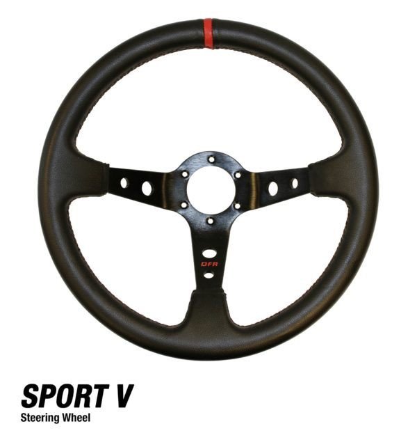 "SPORT V VINYL STEERING WHEEL 2.5"" OFF-SET TOWARDS DRIVER (6-BOLT)"