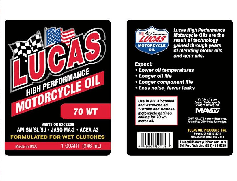 LUCAS OIL 70 WT MOTORCYLE OIL /6x1/Quart/946 mL