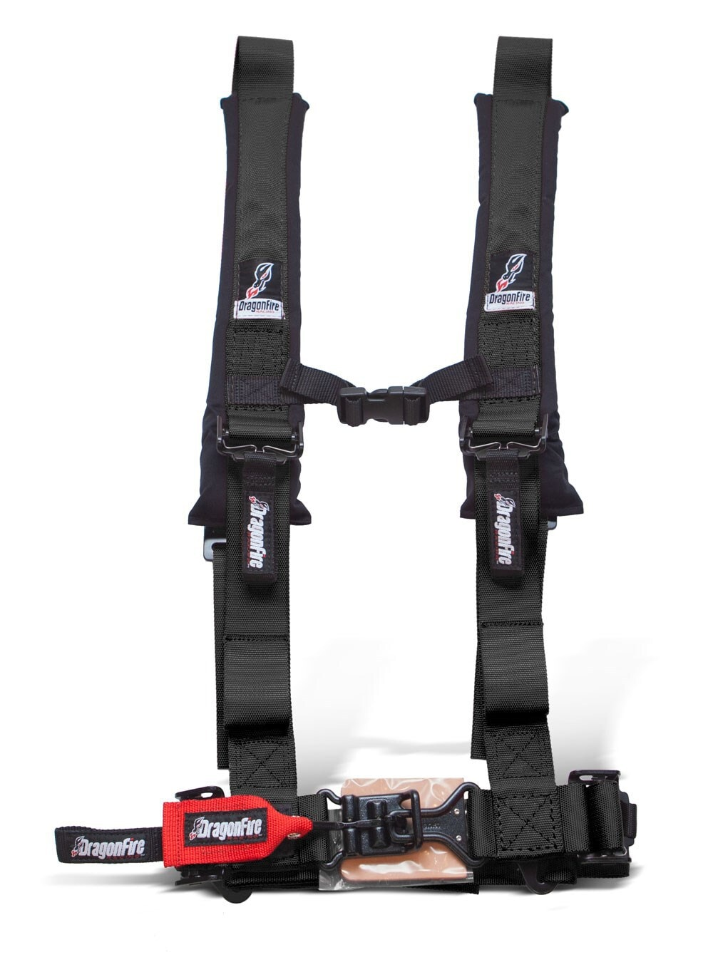 """DRAGONFIRE H-STYLE 4-POINT 2"""""""" HARNESS - BLACK-0"""