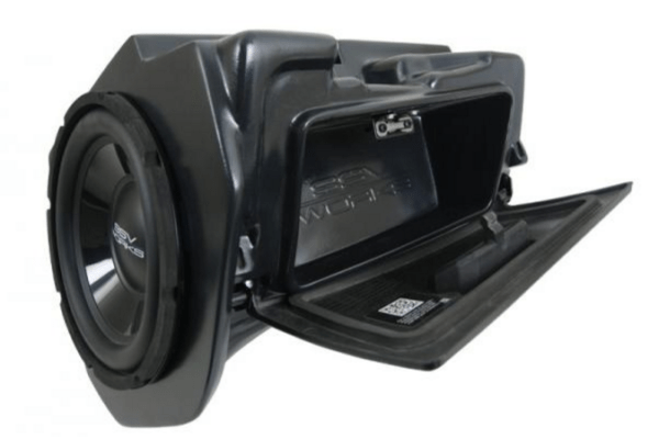 "SSV WORKS GLOVE BOX 10"""" AMPLIFIED SUBWOOFER FOR FACTORY STEREO POLARIS RZR XP 1000-0"